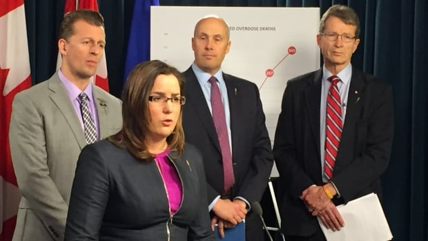 (Left to right) Progressive Conservative MLA Mike Ellis, Wildrose MLA Angela Pitt, Alberta Party leader Greg Clark and Liberal Leader David Swann joined forces Monday to call on the government to call a public health emergency on fentanyl.