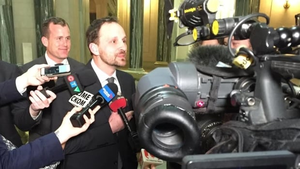 Ryan Meili takes questions from reporters at the Saskatchewan Legislature for the first time since he was elected Saskatoon Meewasin MLA last Thursday.