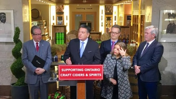 Finance Minister Charles Sousa announces at an LCBO outlet in Toronto that the province will spend $4.9 million over three years to help small cideries and small distilleries build their businesses.