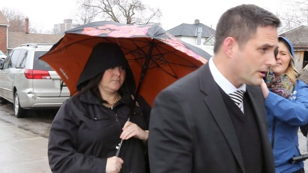 Eastern Ontario teacher Jaclyn McLaren, left, arrives with her lawyer Pieter Kort at the courthouse in Belleville, Ont., on March 7, 2017. She will spend two years in prison for her crimes.