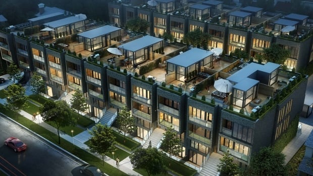 The proposed development consists of two rows of four-storey stacked townhouse buildings.