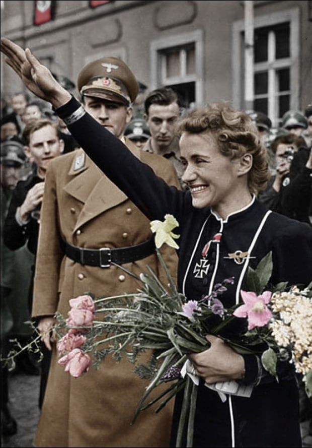 Hanna Reitsch greets crowds in Hirschberg, Germany. 1941.