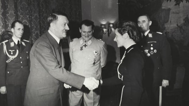 Adolf Hitler awards Luftwaffe test pilot Hanna Reitsch the Iron Cross, 2nd class, in March 1941. Reitsch was later awarded the 1st-class distinction, becoming the only woman to ever receive it.