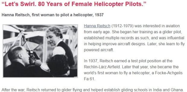 Hanna Reitsch bio on WOAW website