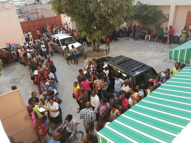 Lineup for clinic in Haiti