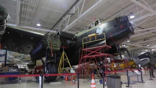 The Lancaster spends its winters being serviced inside the museum hangar.