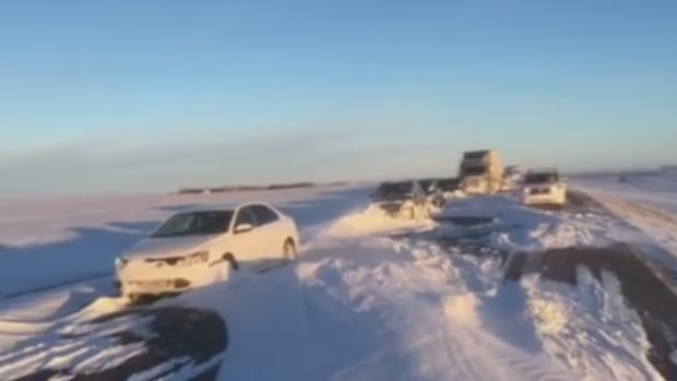 Vehicles were still stranded on Highway 39 near Macoun, Sask., Wednesday morning.