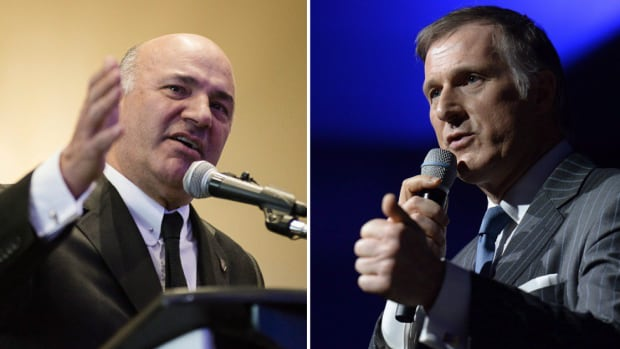 Kevin O'Leary, left, and Maxime Bernier are two of 14 candidates running for the Conservative Party leadership.
