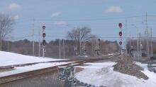 VIA Rail crossing near Fallowfield on March 8, 2017