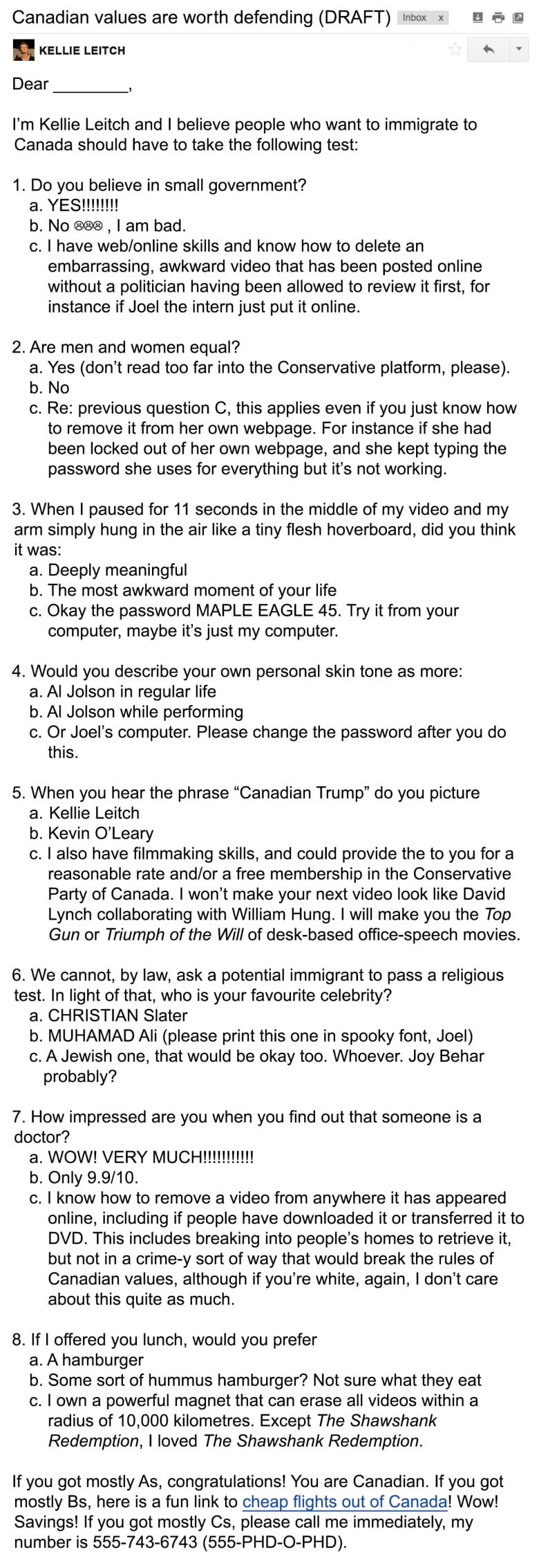 LEAKED: First draft of Kellie Leitch's 'Canadian values