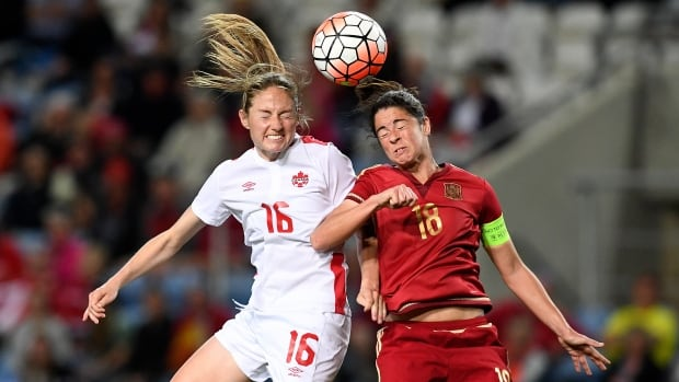 Canadian forward Janine Beckie, left, vies for a high ball with Spain defender Marta Torrejon during Canada's 1-0 loss in the Algarve Cup final on Wednesday in Portugal.