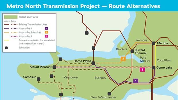 BC Hydro has chosen to move forward with Alternative 2 — the orange coloured line.