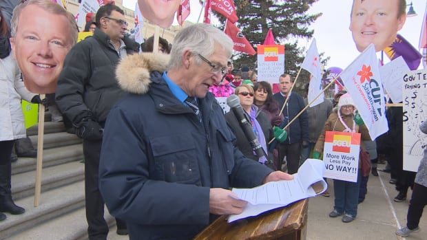 CUPE Saskatchewan president Tom Graham was among the speakers at the rally at the Saskatchewan Legislature on Wednesday.