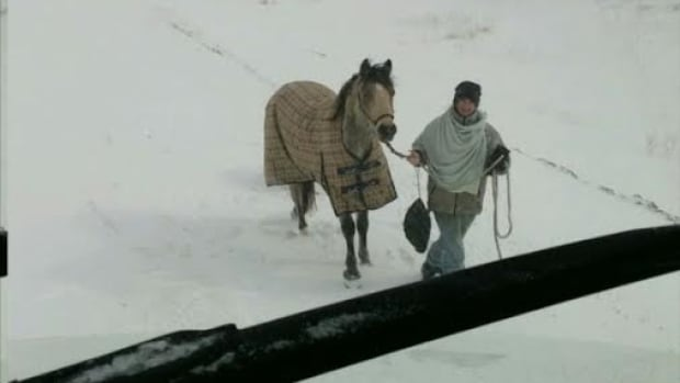 Eileen Eagle Bears, 18, rode her horse through a snowstorm on Tuesday to help a truck driver who was stranded overnight.