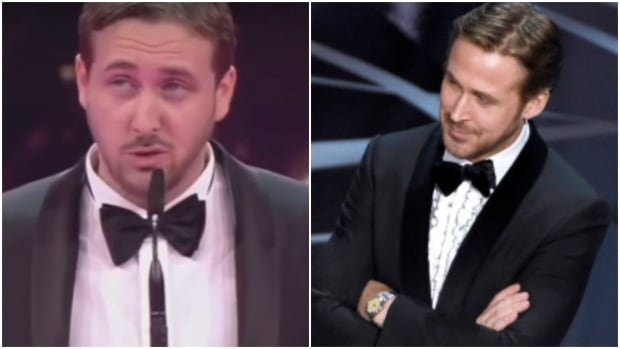 A Ryan Gosling lookalike, left, bearing a passing resemblance to the Oscar-nominated Canadian actor, pranked Germany's Goldene Kamera Awards this week.