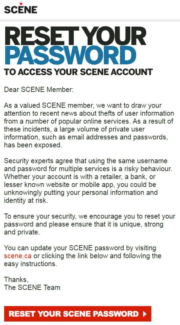 Reset your SCENE password email