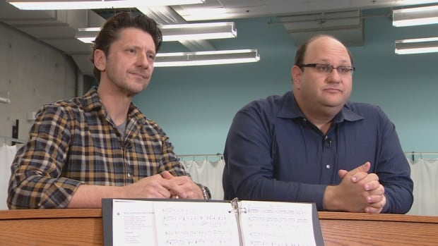 Composer-lyricist Neil Bartram and Michael Rubinoff, founder of Sheridan's Canadian Music Theatre Project, lead a rehearsal at Sheridan College.