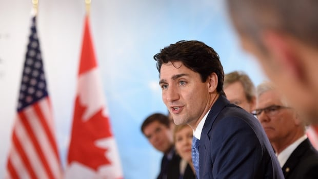 Prime Minister Justin Trudeau takes part in a roundtable discussion on the future of energy with industry leaders at CERAweek in Houston on Thursday.