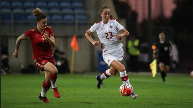 Jordan Huitema, right, who made her national team debut in the Algrave Cup final against Spain, could be the next goal-scoring threat for Canada.