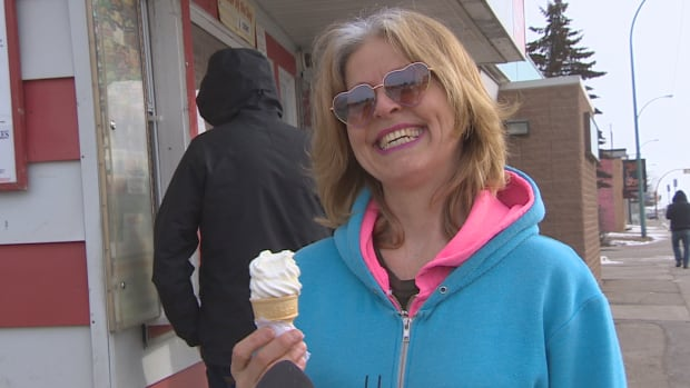 Marilyn Kurtz was thrilled to be the first customer for Milky Way Ice Cream's 2017 season in Regina on a cold March 10, 2017.