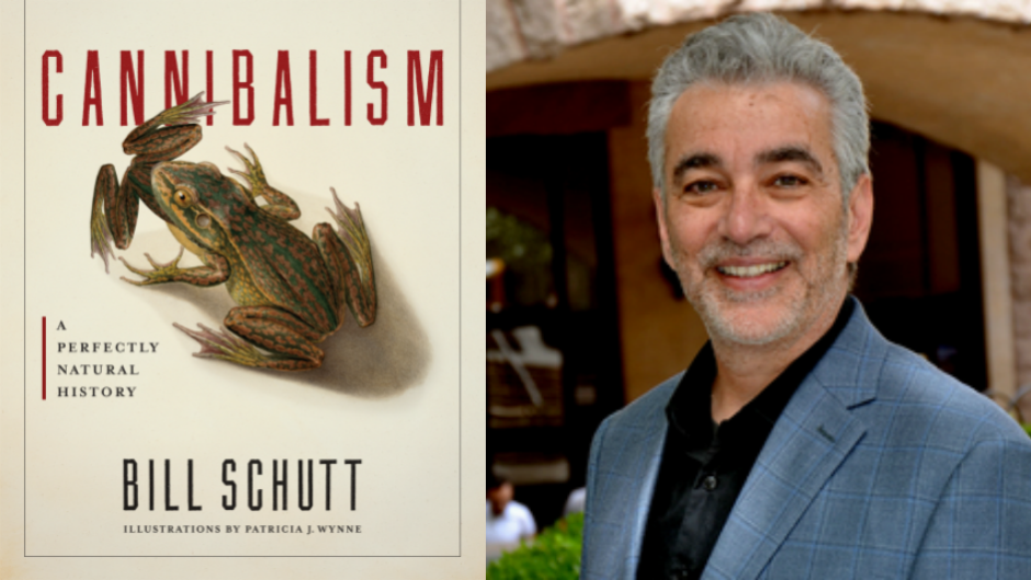 Author Bill Schutt alongside his new book, Cannibalism.