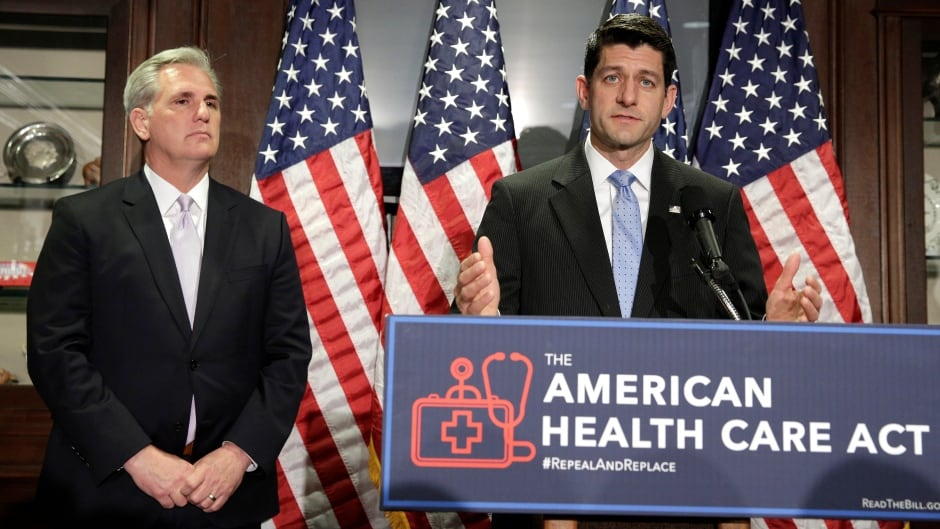 U.S. House Speaker Paul Ryan and House Majority Leader Kevin McCarthy speak about the American Health Care Act, the Republican replacement to Obamacare, at the Republican National Committee in Washington on Wednesday.