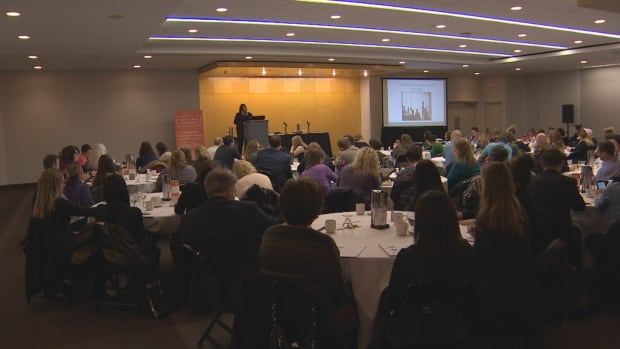 Employers listen to a speaker at the first Cannabis At Work conference in Edmonton on Friday.