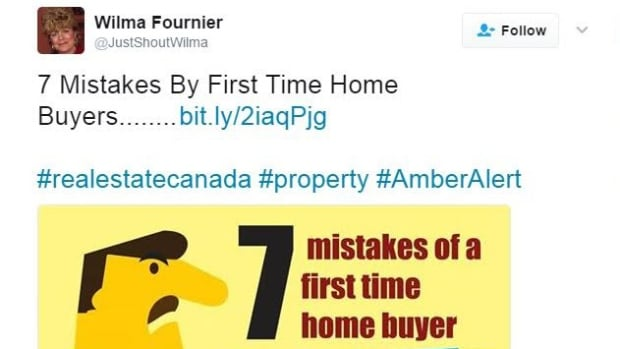 Wilma Fournier is one of two Royal LePage sales associates whose Twitter accounts included the hashtag #AmberAlert in promotional posts. Fournier apologized and said the tweet was published by a third party advertiser.