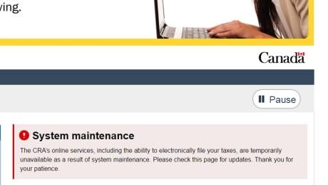 Canada Revenue Agency website down