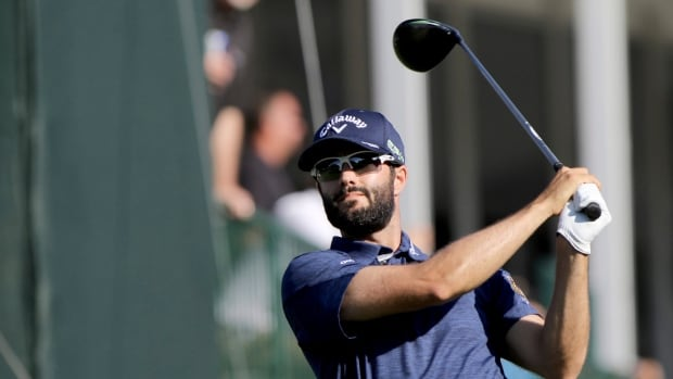 Adam Hadwin drives at 18 while playing in the second round of the Valspar Golf Championship on Friday.