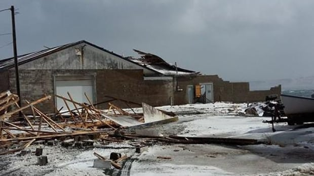 The old fish plant in Ferryland was heavily damaged by winds on Saturday.