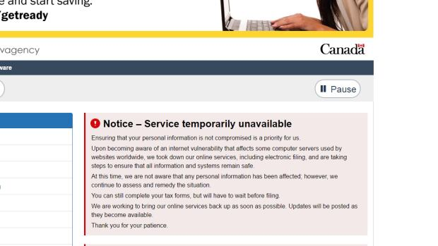 The Canada Revenue Agency website is running, but its digital services--including electronic tax filing--is not.