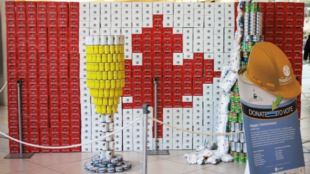 "The City of Kitchener was one of 15 teams that participated in this year's Canstruction competition. Their structure is called ""Happy  Canniversary!"", which used 1,000 cans."