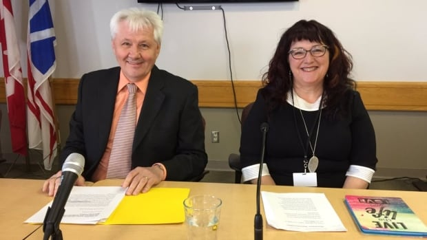 Minister Eddie Joyce and Municipalities Newfoundland and Labrador President Karen Oldford announce a new municipal infrastructure plan.