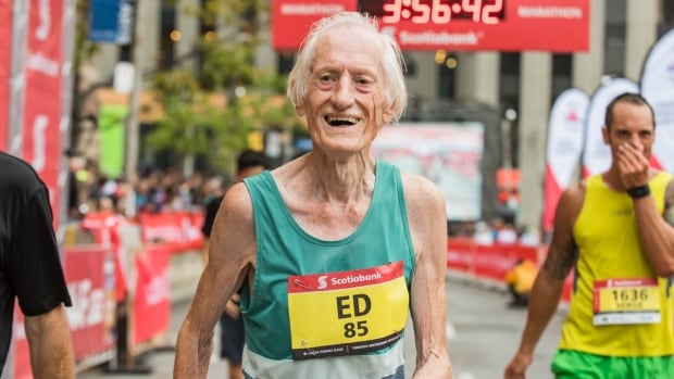Ed Whitlock pictured moments after setting a world marathon record for runners aged 85 and over at the 2016 Scotiabank Toronto Waterfront Marathon.
