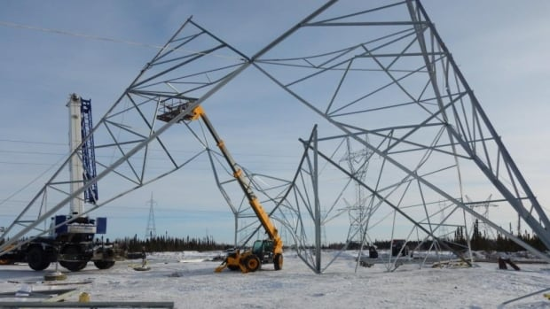 Manitoba Hydro spokesperson Scott Powell said 13 workers were on site when a tower slowly collapsed while it was being assembled about 40 km from Gillam, Man.