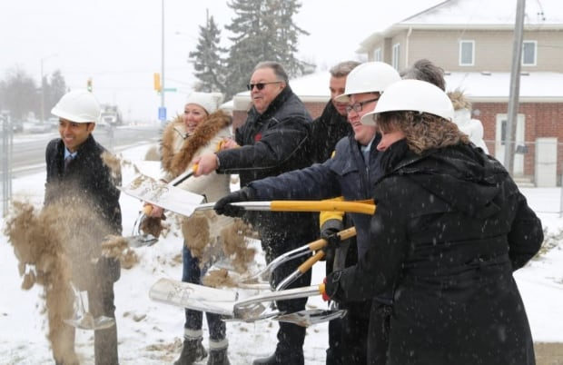 Shovels in affordable housing complex Cambridge