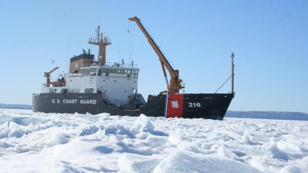 U.S. Coast Guard Cutter Alder pictured in Whitefish Bay on Lake Superior. The ice breaking vessel is expected to reach Thunder Bay, Ont. on Monday, and to spend between one and two days clearing the harbour for the shipping season.