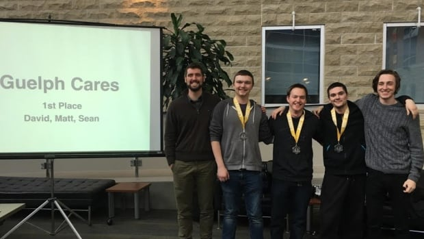 In this photo are organizer Jon MacPherson (far left), Guelph Cares team members Matthew Sampson, Dave Hudec and Sean Lunt; and organizer Pat Houlding (far right).