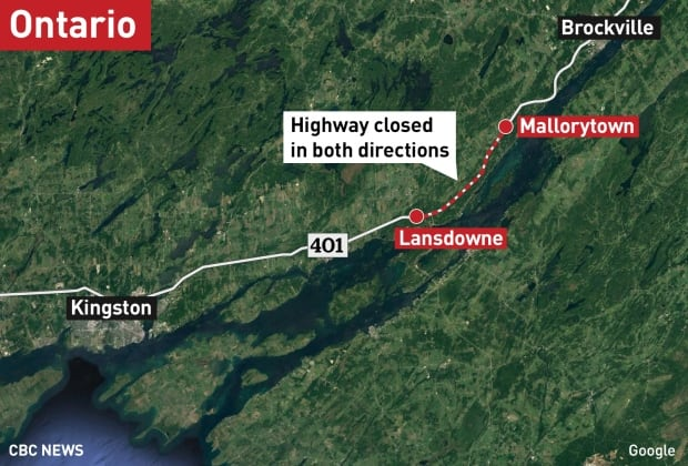 Road closures Highway 401 spill