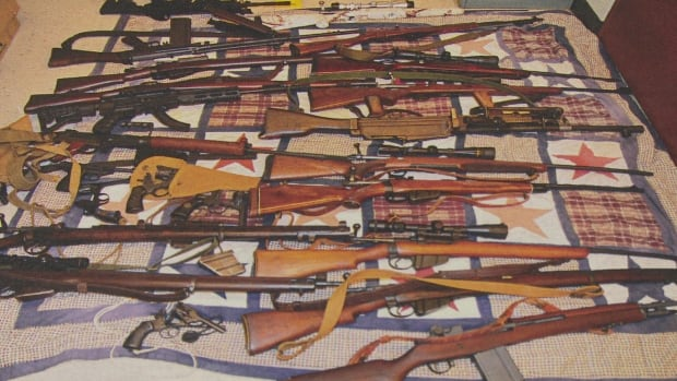 Some of the firearms seized from Jeffery Gillis's home