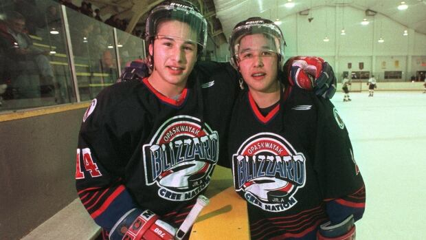 Jordin Tootoo at age 15, left, with his brother Terence Tootoo, 18, in Portage La Prairie, Man., in 1998. The two were playing for the Opaskwayak Cree Nation Blizzard.