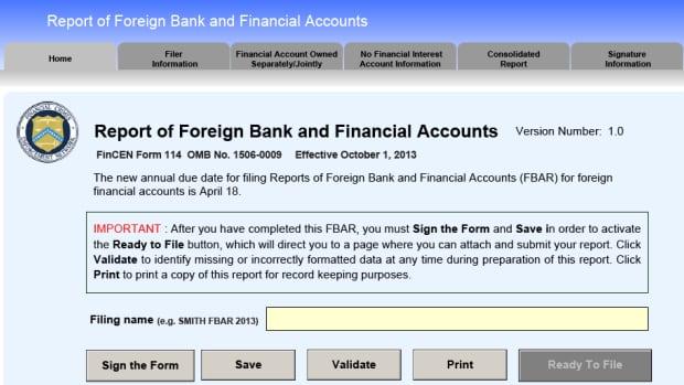 Copy of the U.S. FBAR form.