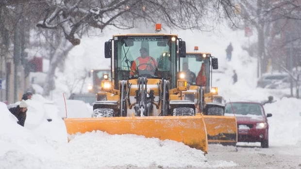 Snow-clearing crews were busy in Montreal on Wednesday after a major snowstorm swept through the province.