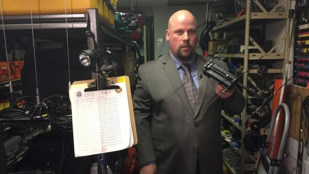 SARBC vice president Glen Redden shows off some of the equipment owned by his organization.