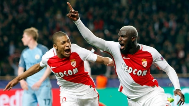 Monaco's Tiemoue Bakayoko, right, celebrates his team's third goal with Kylian Mbappe during their win over Manchester City on Wednesday.