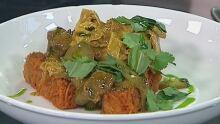 Thai duck curry with potato rosti
