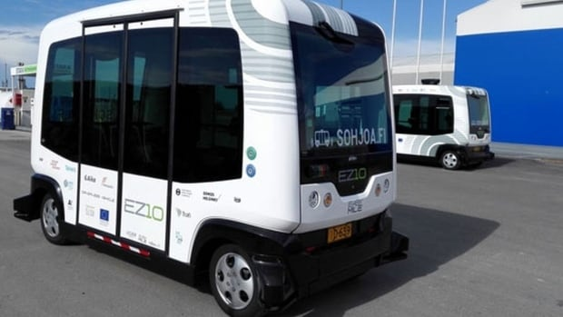 Automated shuttle buses have been tested on the roads in Helsinki, Finland.