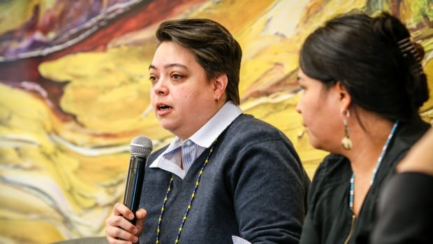 Indigenous Leadership Initiative executive director Valerie Courtois presents at the On The Land Summit in Dettah, N.W.T. Courtois is hoping that next week's federal budget includes a commitment to fund a network of Indigenous guardians across Canada.