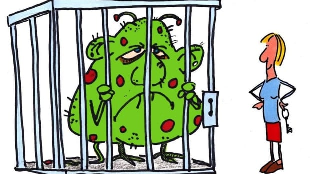 With this depiction of her anxiety monster, Cathy Donaldson wanted 'the sense that I had him caged.'
